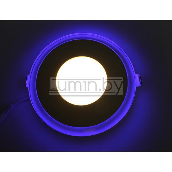 Светодиодная панель Синий Круг 6W 130x130mm, (стекло)