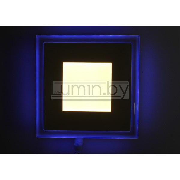 Светодиодная панель Синий Квадрат 6W 130x130mm, (стекло)
