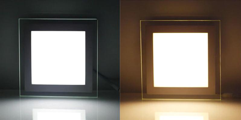 Холодная LED панель и тёплая квадратная