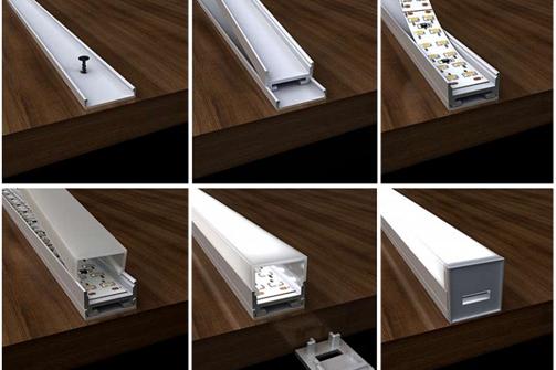 кухонный алюминиевый накладной профиль для крепления светодиодной ленты с рассеивателем на кухню минск