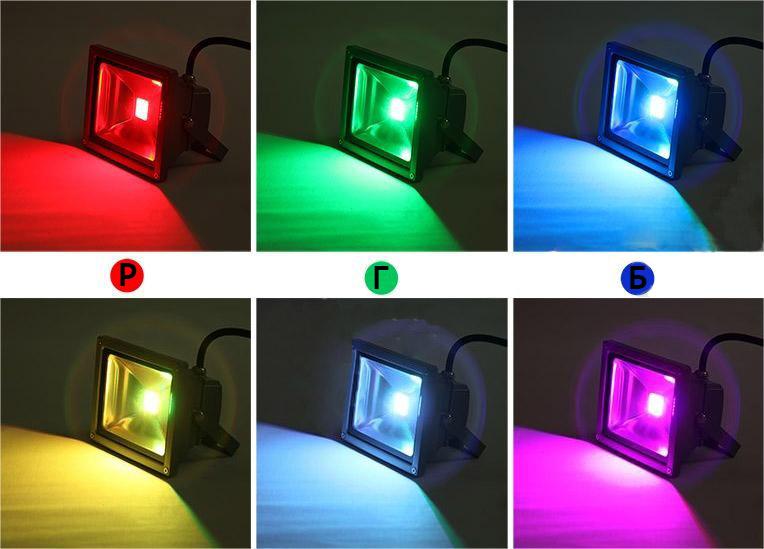 диодный ргб прожектор многоцветный rgb led сравнение