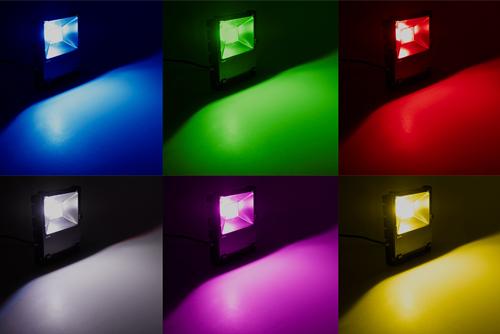 разноцветный синий зеленый красный led rgb прожектор с пультом в минске