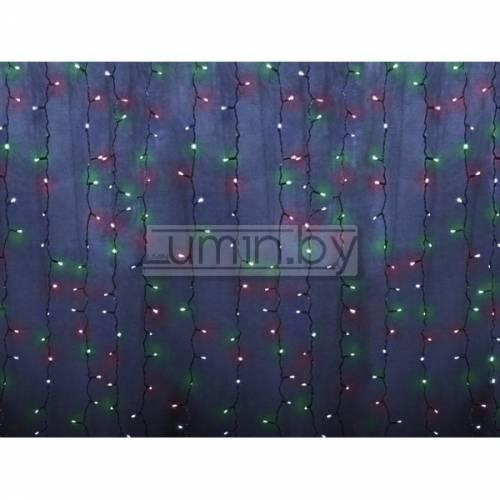 Светодиодная гирлянда Дождь 2х1,5м, 192 LED, 220V (на прозрачном проводе) Артикул: 75336