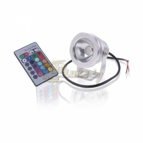 Светодиодный прожектор с линзой 10W, IP68, RGB, 12V